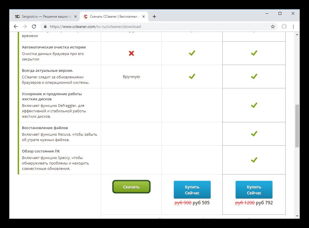 Актуальная страница загрузки бесплатной версии CCleaner для Windows