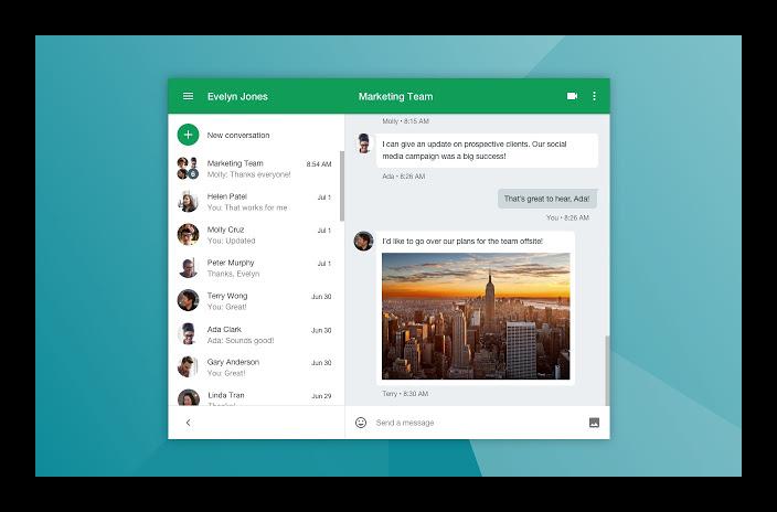 Картинка Интерфейс Google Hangouts