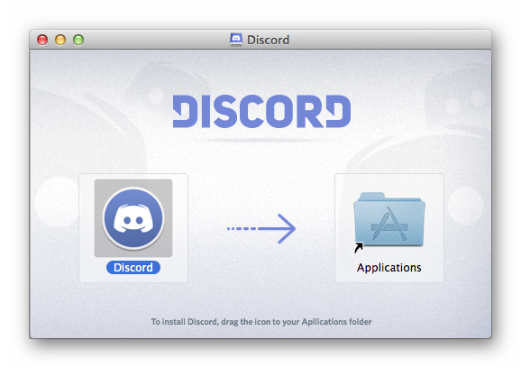 Окно установки Discord для Mac OS