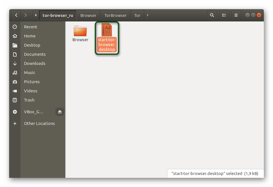 Файл для запуска Tor Browser в Linux
