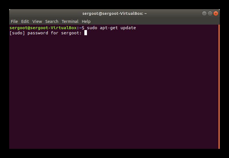 Команда Update в Терминале Ubuntu
