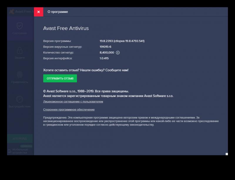 Потребление системных ресурсов Avast
