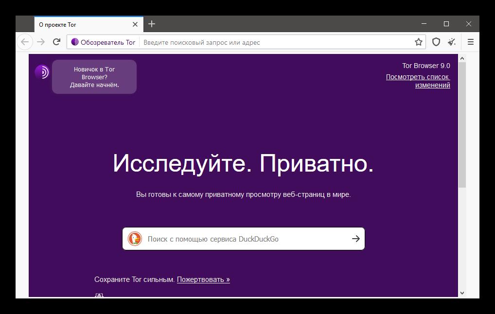Интерфейс Тор Браузера