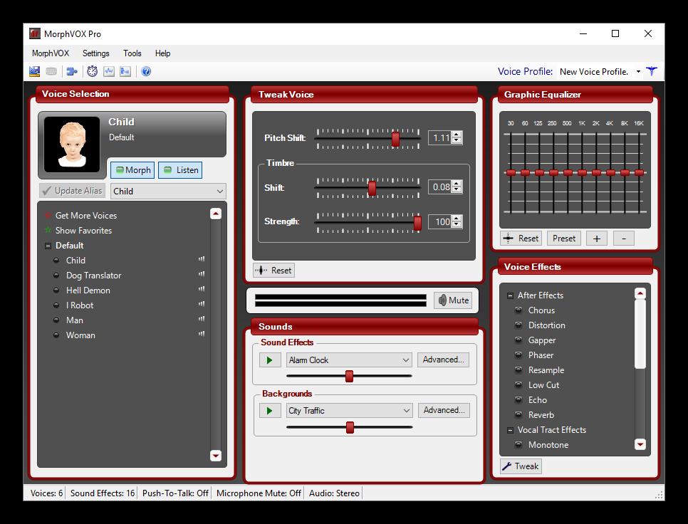 Общий вид программы MoprhVOX Pro