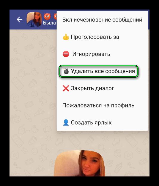Опция Удалить все сообщения в приложении Друг Вокруг