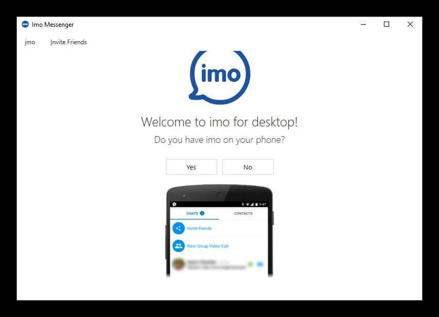 Окошко синхронизации в новой версии imo для Windows