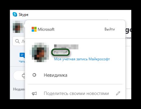 Просмотр логина в Skype на компьютере