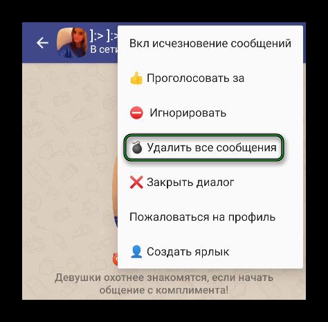 Опция Удалить все сообщения в меню в чате Друг Вокруг