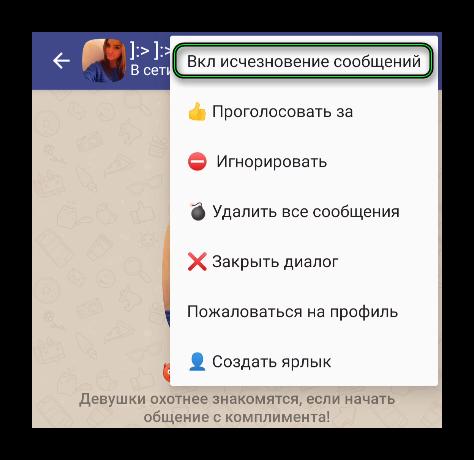 Опция Вкл исчезновение сообщений в меню в чате Друг Вокруг