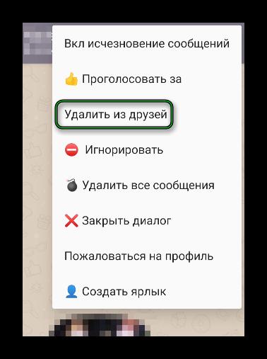 Пункт Удалить из друзей в меню в окне переписки приложения ДругВокруг