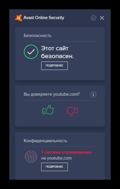 Общий вид расширения Avast Online Security для браузера