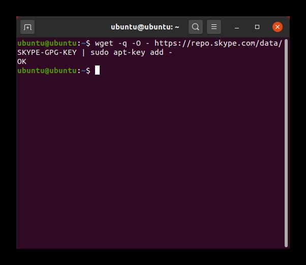 Добавление ключа репозитория со Skype в Ubuntu
