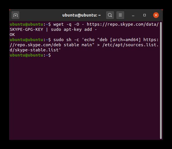 Подключение репозитория со Skype в Ubuntu
