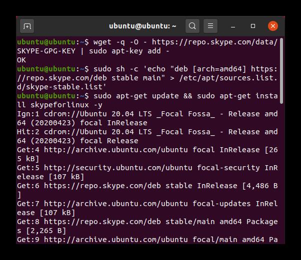 Установка Skype в Ubuntu