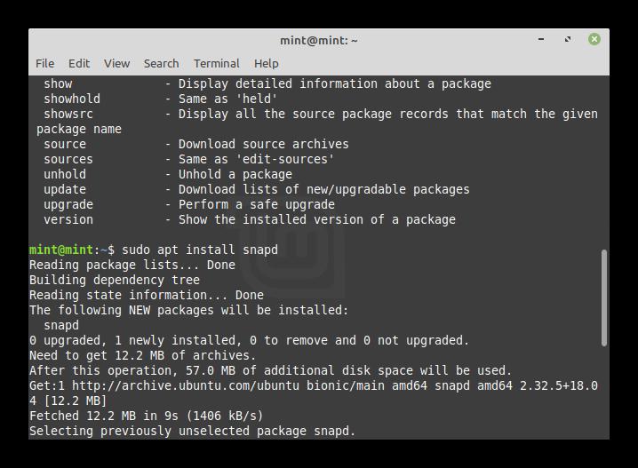 Установка Snap Store в Linux Mint