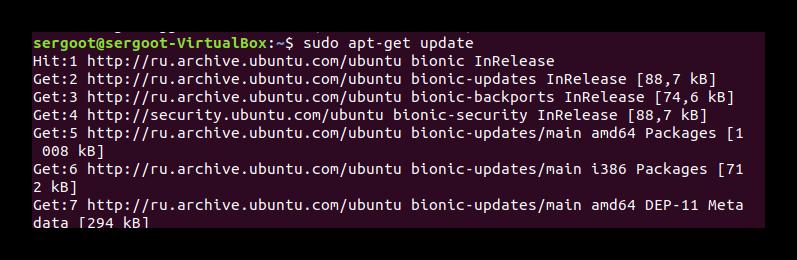 Команда update через Терминал Ubuntu