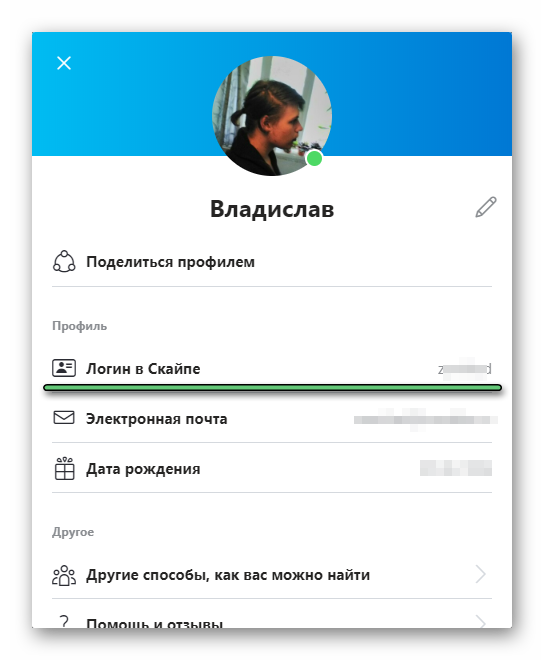 Просмотр своего логина в Skype на компьютере