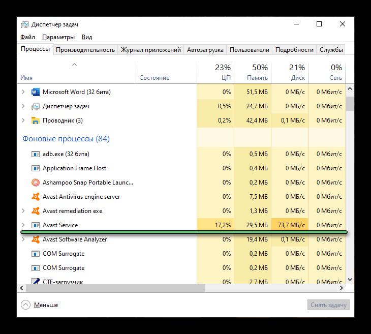 Процесс Avast Servise в Диспетчере задач Windows