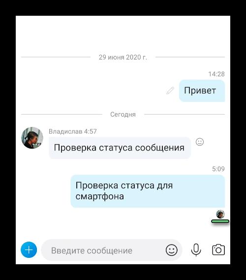Проверка статуса сообщения в Skype для смартфона