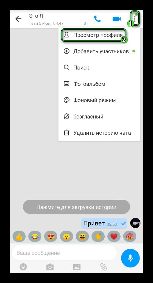 Пункт Просмотр профиля в окне переписки imo
