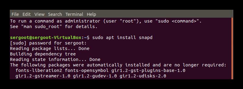 Установка Snap через Терминал Ubuntu