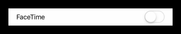 Вид отключенного ползунка FaceTime в настройках iOS