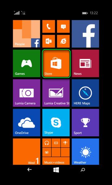 Запуск Microsoft Store на Windows Phone