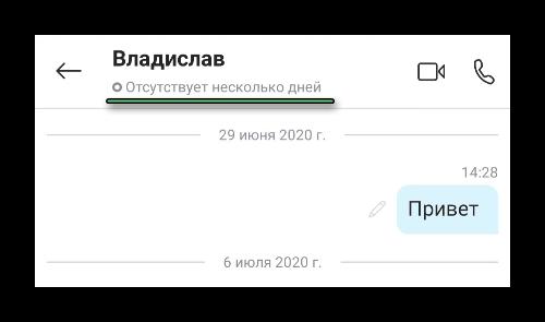 Информация о времени последнего посещения в мобильном приложении Skype