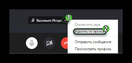 Опция Удалить из звонка в разговоре Skype