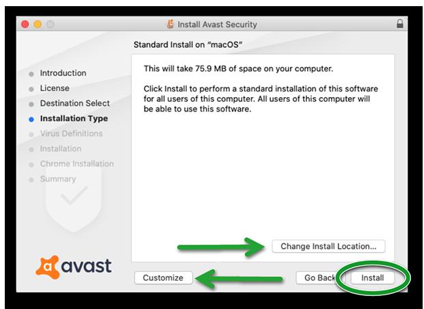 Изменение расположения при установке Аваст на Мак