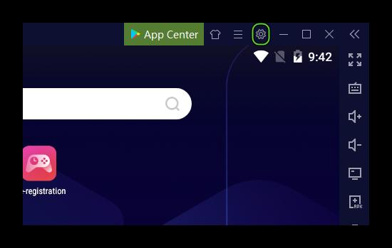Кнопка Настройки для эмулятора Nox на компьютере