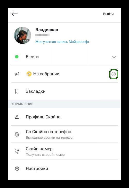 Кнопка Очистить индикатор настроения в Skype на телефоне