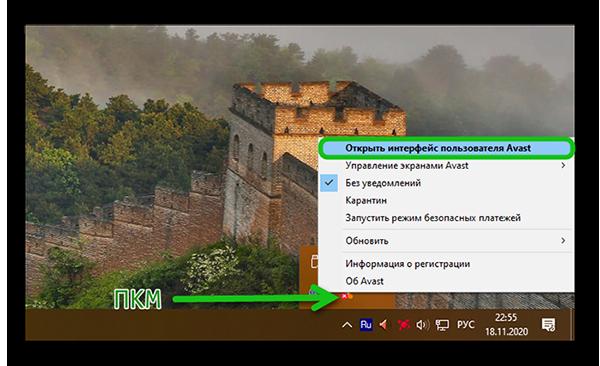 Открываем интерфейс пользователя Аваст