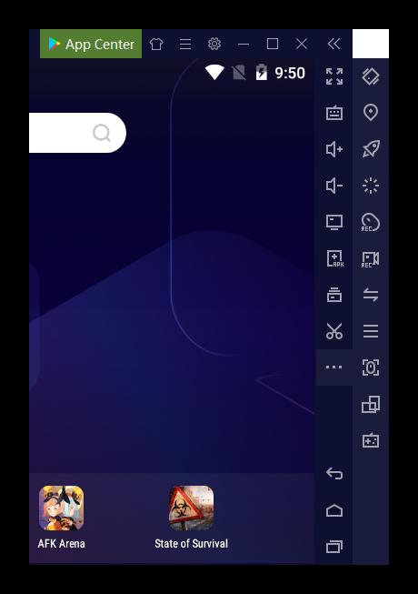 Вид панели управления эмулятора Nox App Player