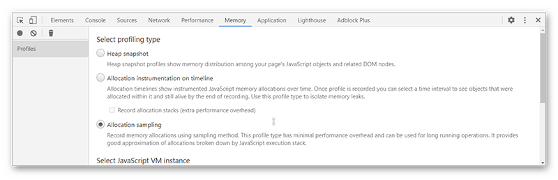 Вкладки Memory в режиме разработчика в Гугл Хроме