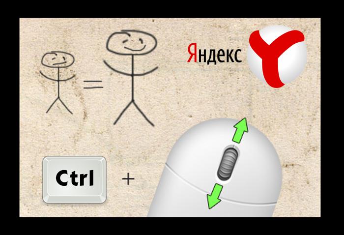 Масштабирование горячими клавишами в Яндекс Браузере