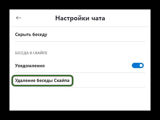 Опция Удаление беседы Скайпа на странице контакта в программе Skype