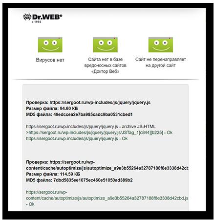 Отчет о проверке сайта в Доктор веб