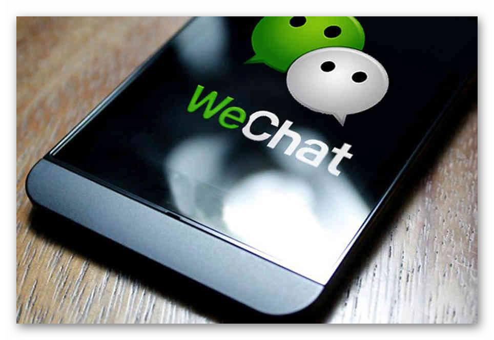 Смартфон с логотипом WeChat