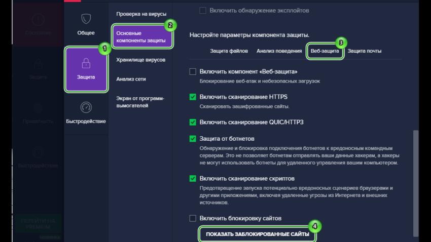 Настройки заблокированных сайтов в Avast