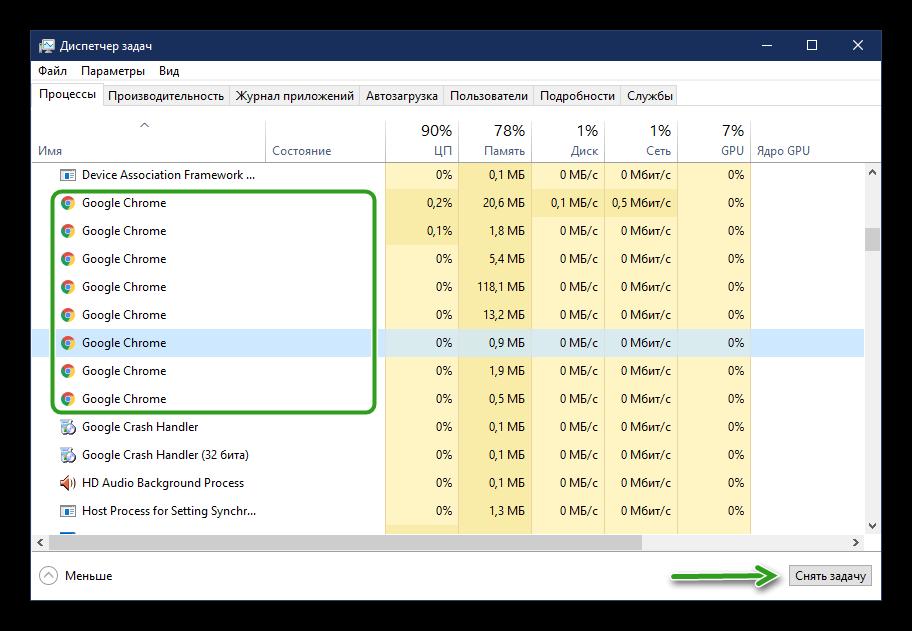 Отключение процессов в Ggoogle Chrome через Диспетчер задач