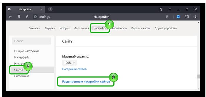 Расширеные настройки сайтов в Яндекс Браузере