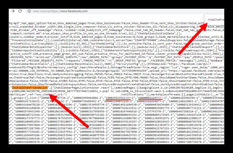 Поиск гостей по исходному коду в Фейсбук