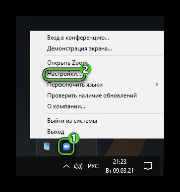 Пункт Настройки для иконки Zoom в системном трее