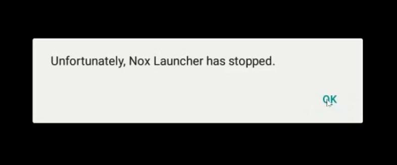 Вид ошибки Unfortunately, Nox Launcher has stopped
