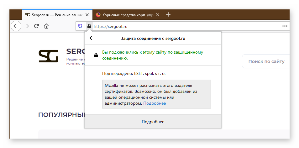 Проверка сертификата сайта в браузере Мазила Фаерфокс