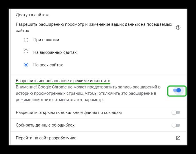 Разрешить Internet Download Manager работать в режиме инкогнито