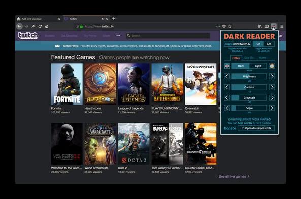 Dark Reader для Firefox
