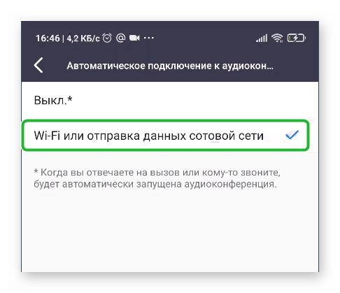 Использовать интернет при подключении к конференции в Zoom