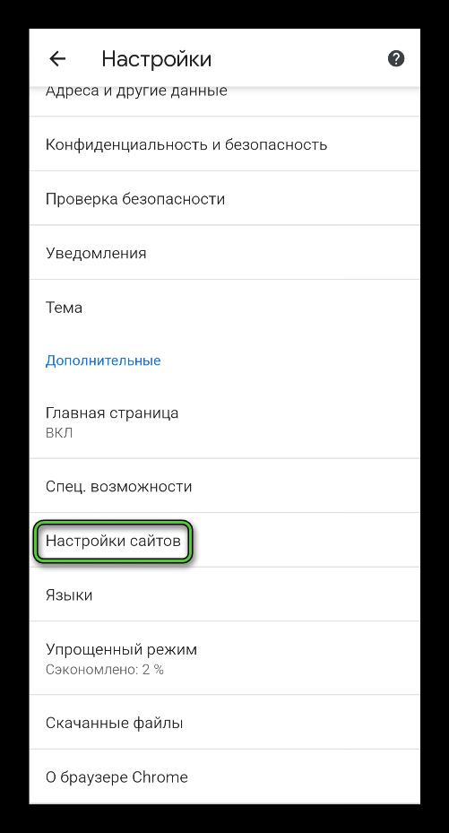 Пункт Настройки сайтов в Google Chrome на Android
